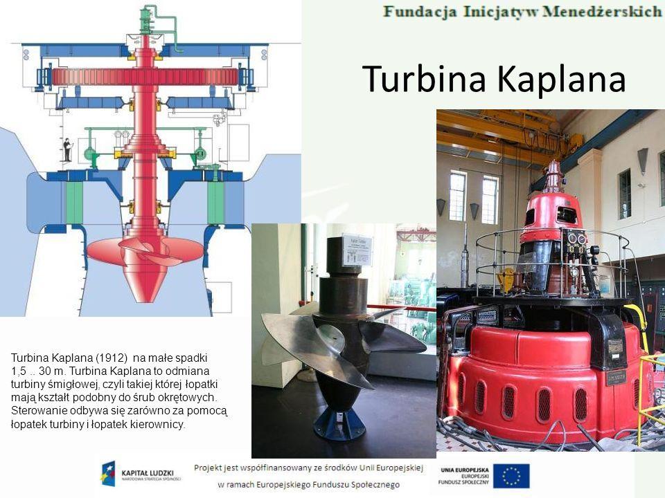 Turbina Kaplana Turbina Kaplana (1912) na małe spadki 1,5.. 30 m. Turbina Kaplana to odmiana turbiny śmigłowej, czyli takiej której łopatki mają kszta