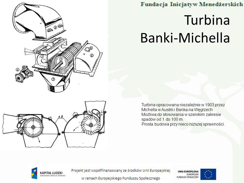 Turbina Banki-Michella Turbina opracowana niezależnie w 1903 przez Michella w Austrii i Banka na Węgrzech Możliwa do stosowania w szerokim zakresie sp