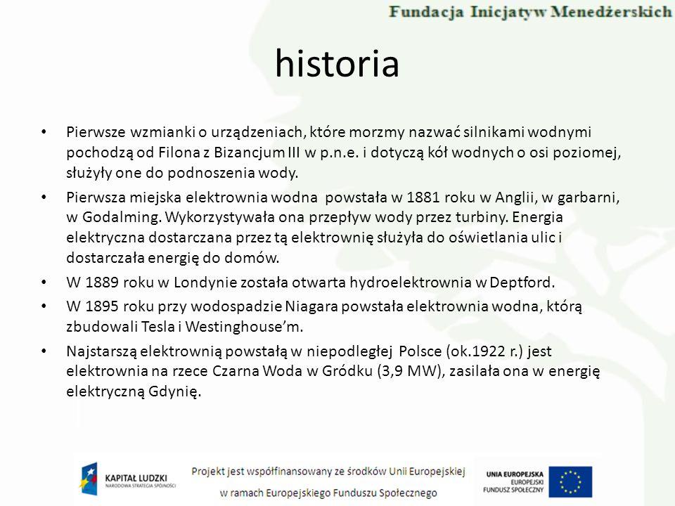 historia Pierwsze wzmianki o urządzeniach, które morzmy nazwać silnikami wodnymi pochodzą od Filona z Bizancjum III w p.n.e. i dotyczą kół wodnych o o