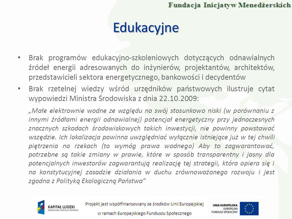 Brak programów edukacyjno-szkoleniowych dotyczących odnawialnych źródeł energii adresowanych do inżynierów, projektantów, architektów, przedstawicieli