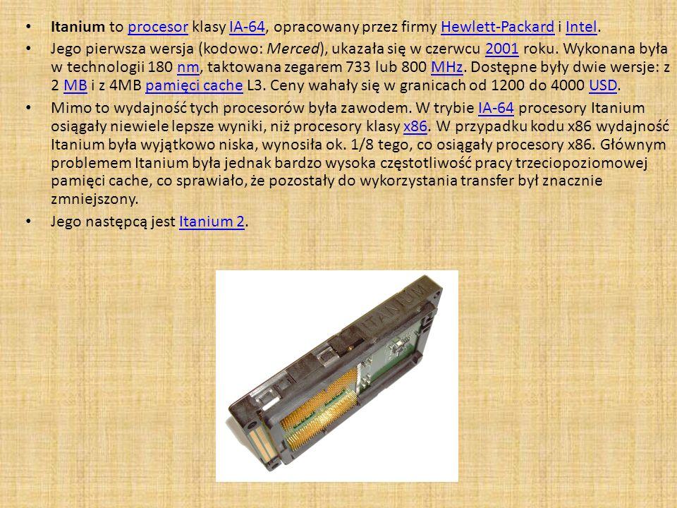 Itanium to procesor klasy IA-64, opracowany przez firmy Hewlett-Packard i Intel.procesorIA-64Hewlett-PackardIntel Jego pierwsza wersja (kodowo: Merced