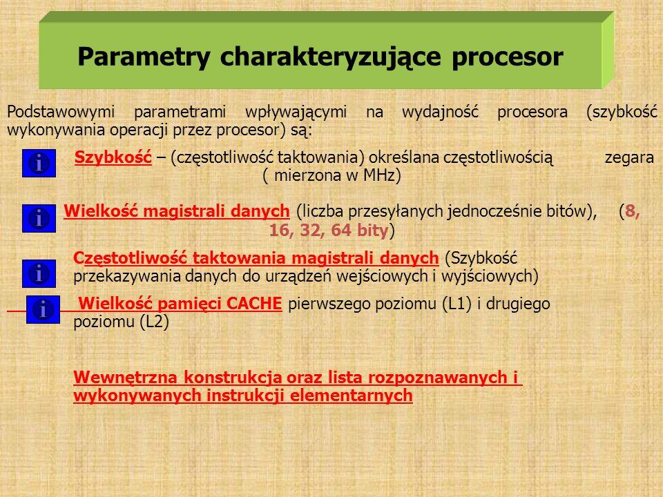 Parametry charakteryzujące procesor Podstawowymi parametrami wpływającymi na wydajność procesora (szybkość wykonywania operacji przez procesor) są: Sz