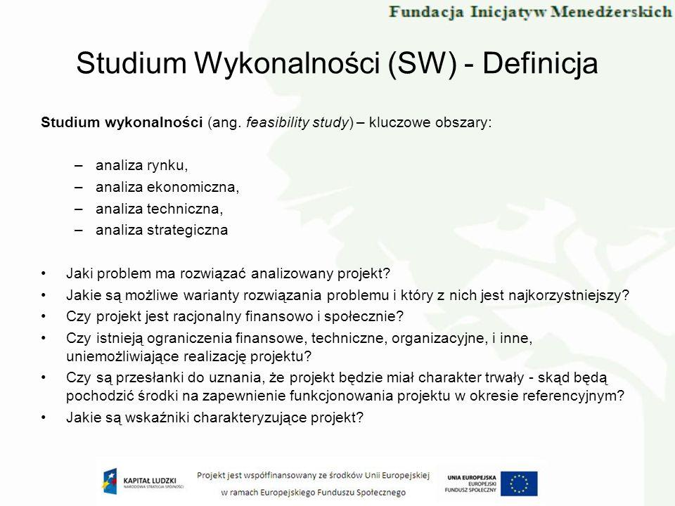 Studium wykonalności (ang. feasibility study) – kluczowe obszary: –analiza rynku, –analiza ekonomiczna, –analiza techniczna, –analiza strategiczna Jak