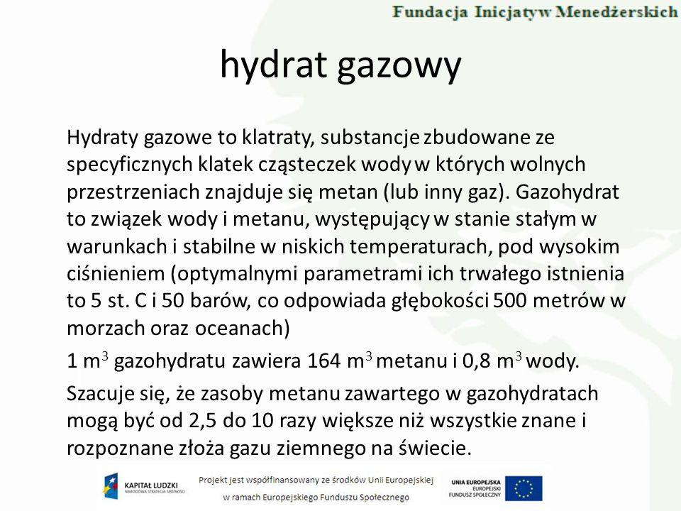 hydrat gazowy Hydraty gazowe to klatraty, substancje zbudowane ze specyficznych klatek cząsteczek wody w których wolnych przestrzeniach znajduje się m