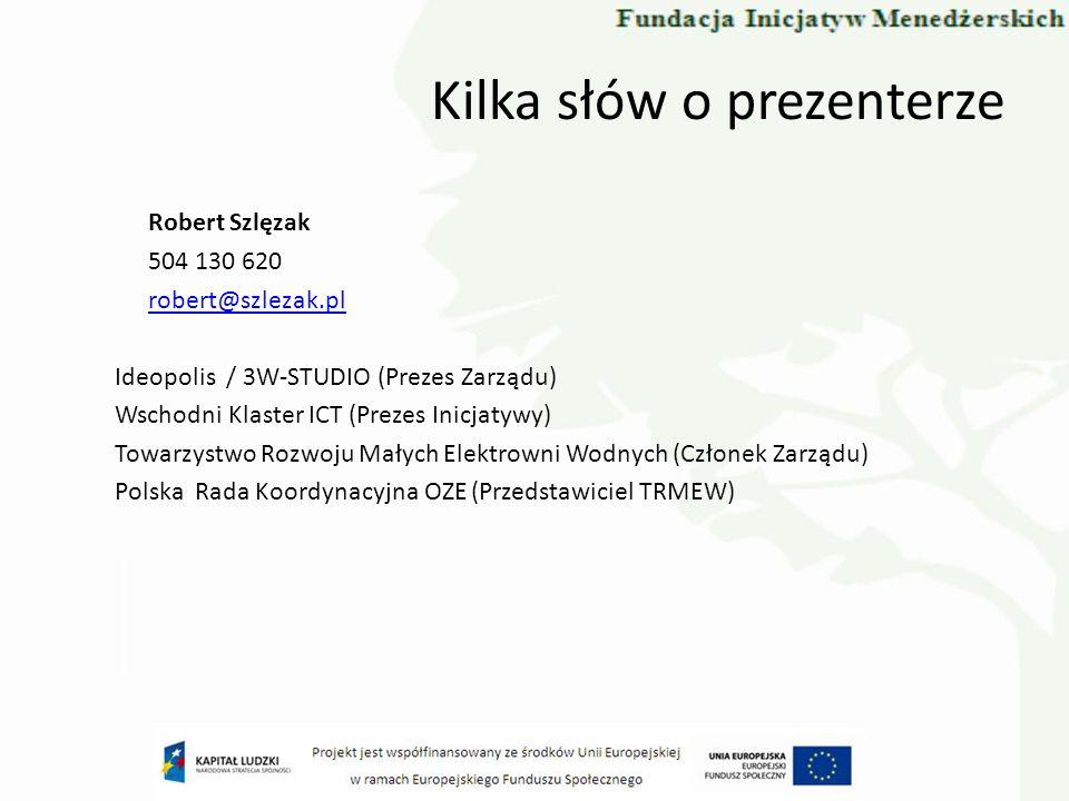 Kilka słów o prezenterze Robert Szlęzak 504 130 620 robert@szlezak.pl Ideopolis / 3W-STUDIO (Prezes Zarządu) Wschodni Klaster ICT (Prezes Inicjatywy)