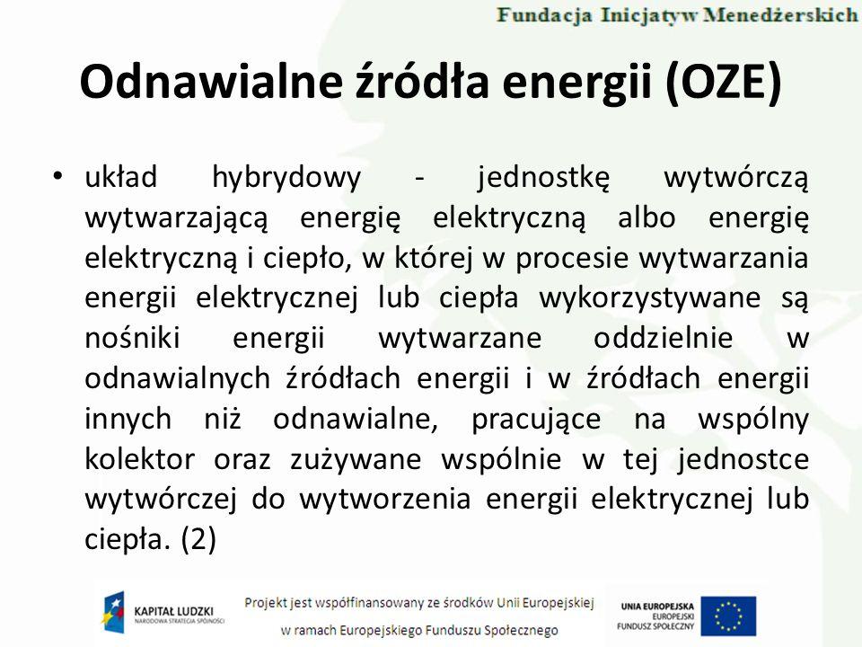 Odnawialne źródła energii (OZE) układ hybrydowy - jednostkę wytwórczą wytwarzającą energię elektryczną albo energię elektryczną i ciepło, w której w p