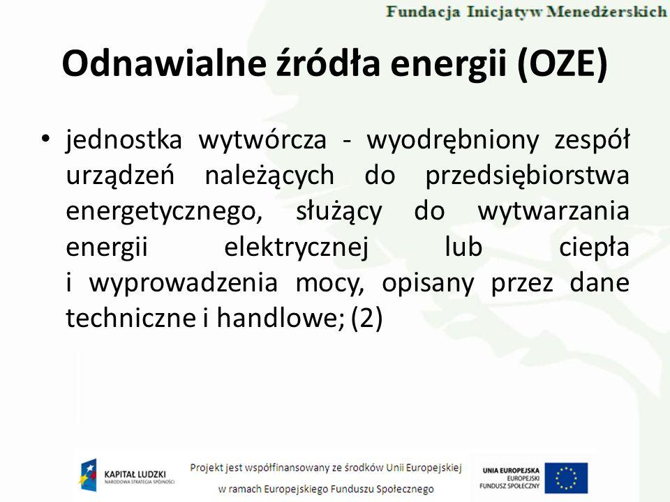 Odnawialne źródła energii (OZE) jednostka wytwórcza - wyodrębniony zespół urządzeń należących do przedsiębiorstwa energetycznego, służący do wytwarzan