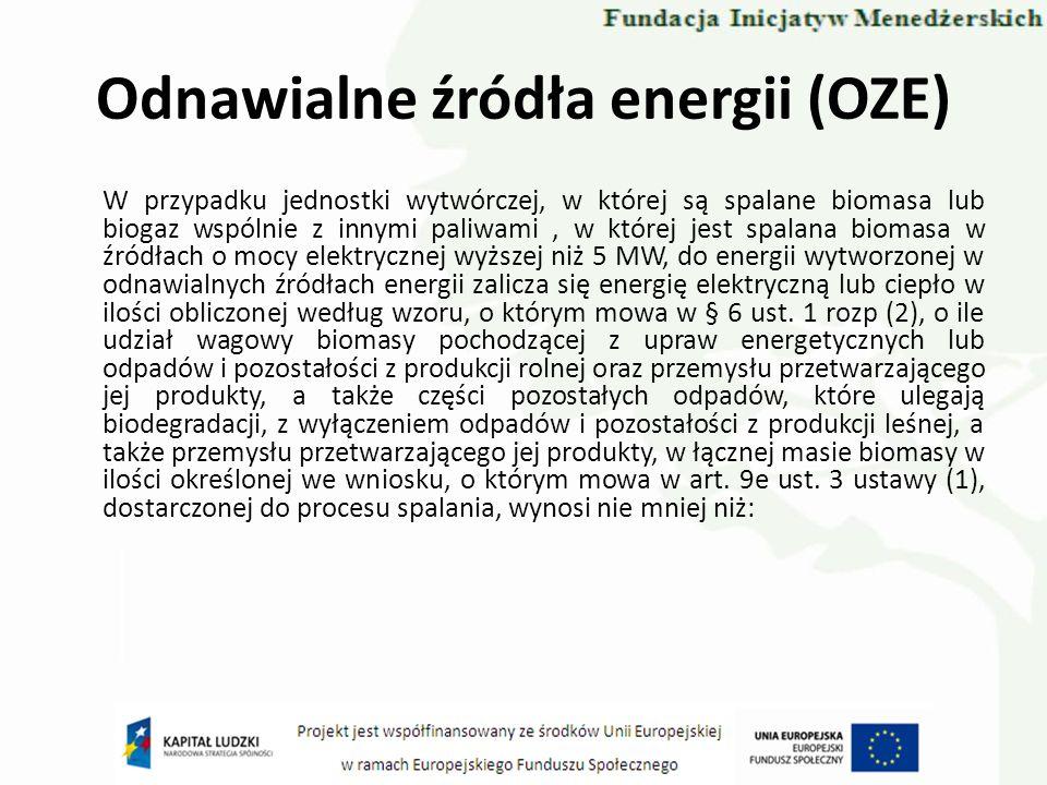 Odnawialne źródła energii (OZE) W przypadku jednostki wytwórczej, w której są spalane biomasa lub biogaz wspólnie z innymi paliwami, w której jest spa