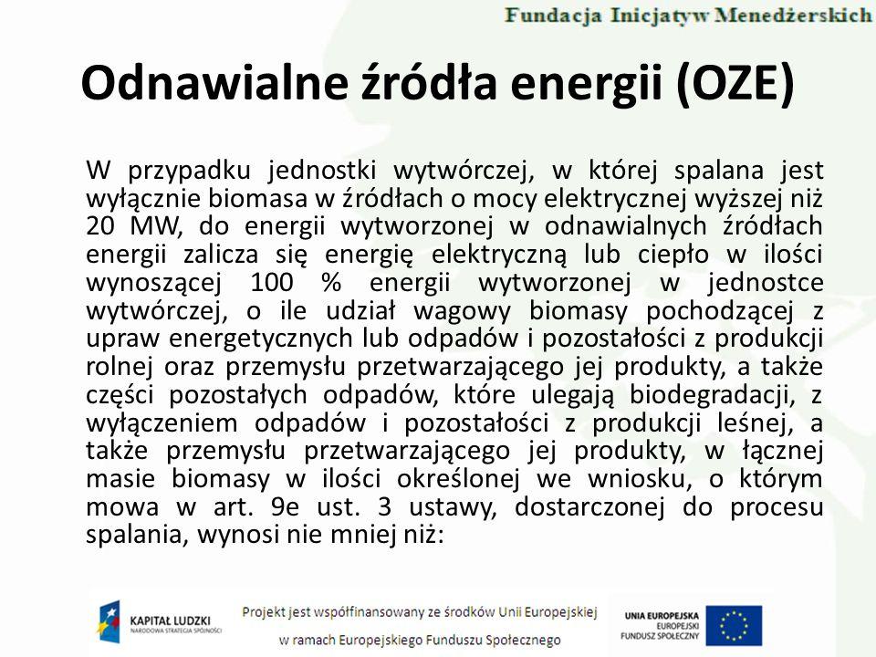 Odnawialne źródła energii (OZE) W przypadku jednostki wytwórczej, w której spalana jest wyłącznie biomasa w źródłach o mocy elektrycznej wyższej niż 2