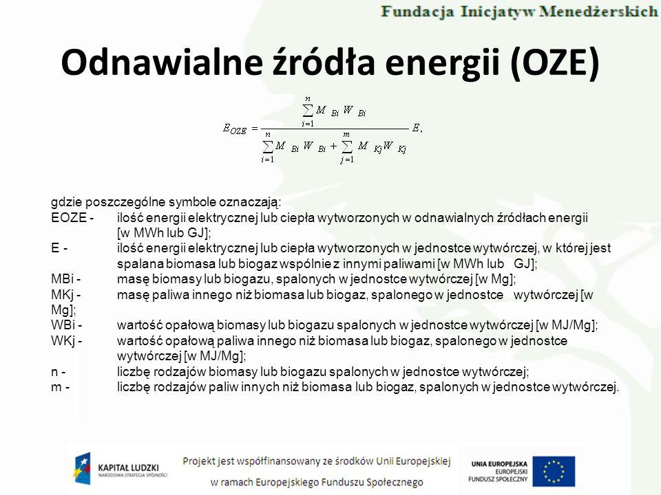 Odnawialne źródła energii (OZE) gdzie poszczególne symbole oznaczają: EOZE -ilość energii elektrycznej lub ciepła wytworzonych w odnawialnych źródłach