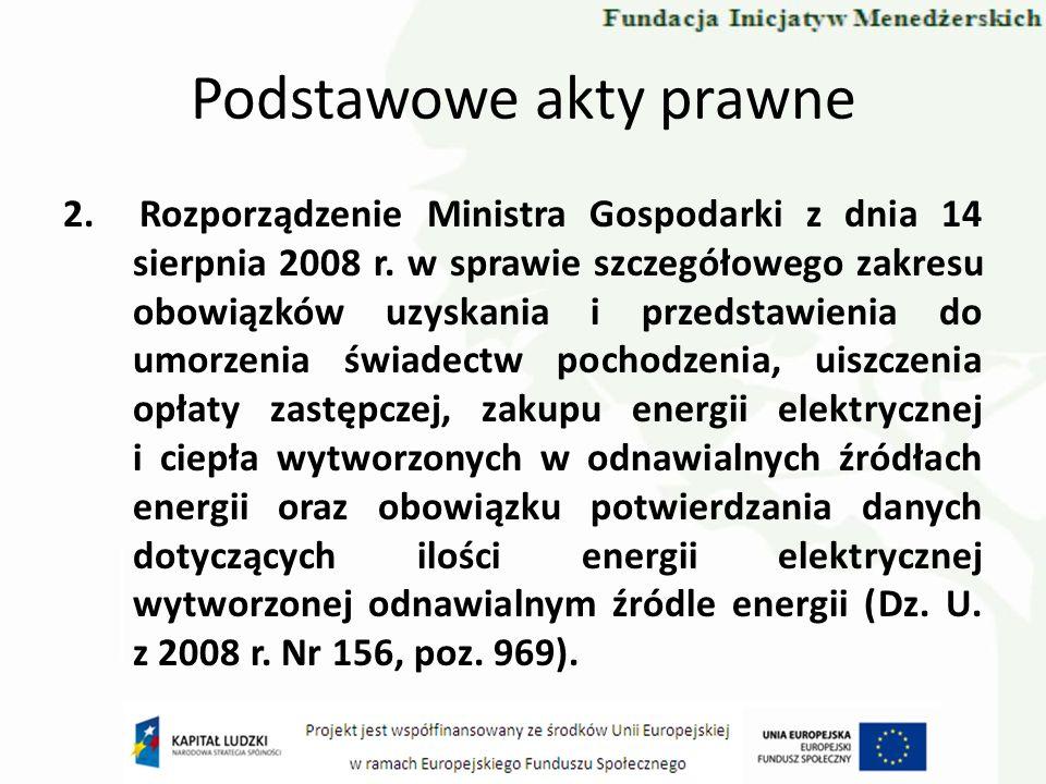 Podstawowe akty prawne 2. Rozporządzenie Ministra Gospodarki z dnia 14 sierpnia 2008 r. w sprawie szczegółowego zakresu obowiązków uzyskania i przedst