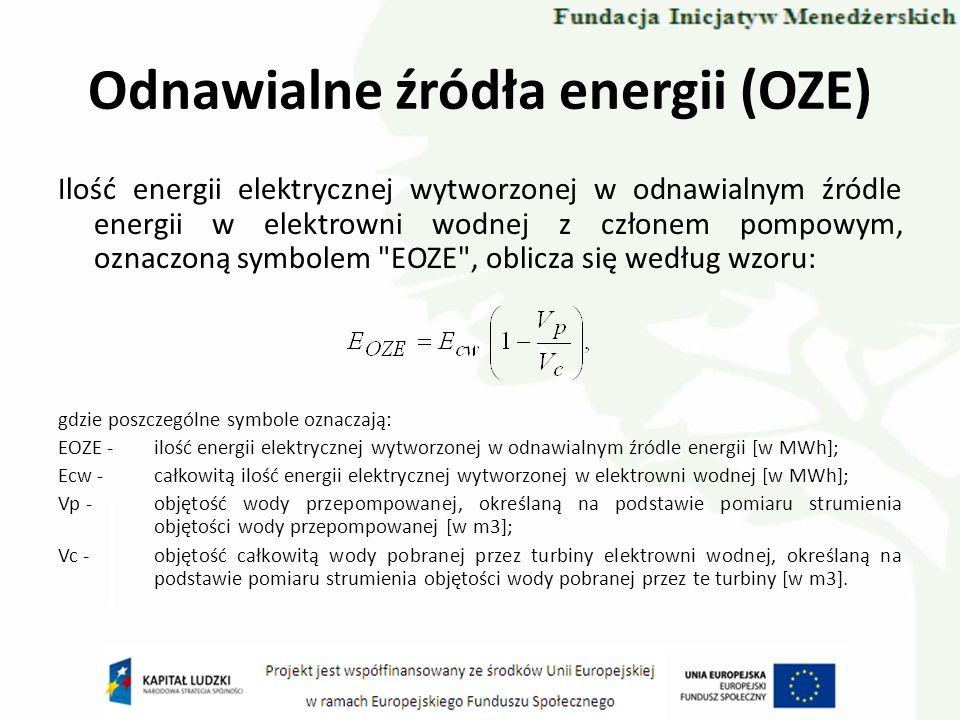 Odnawialne źródła energii (OZE) Ilość energii elektrycznej wytworzonej w odnawialnym źródle energii w elektrowni wodnej z członem pompowym, oznaczoną