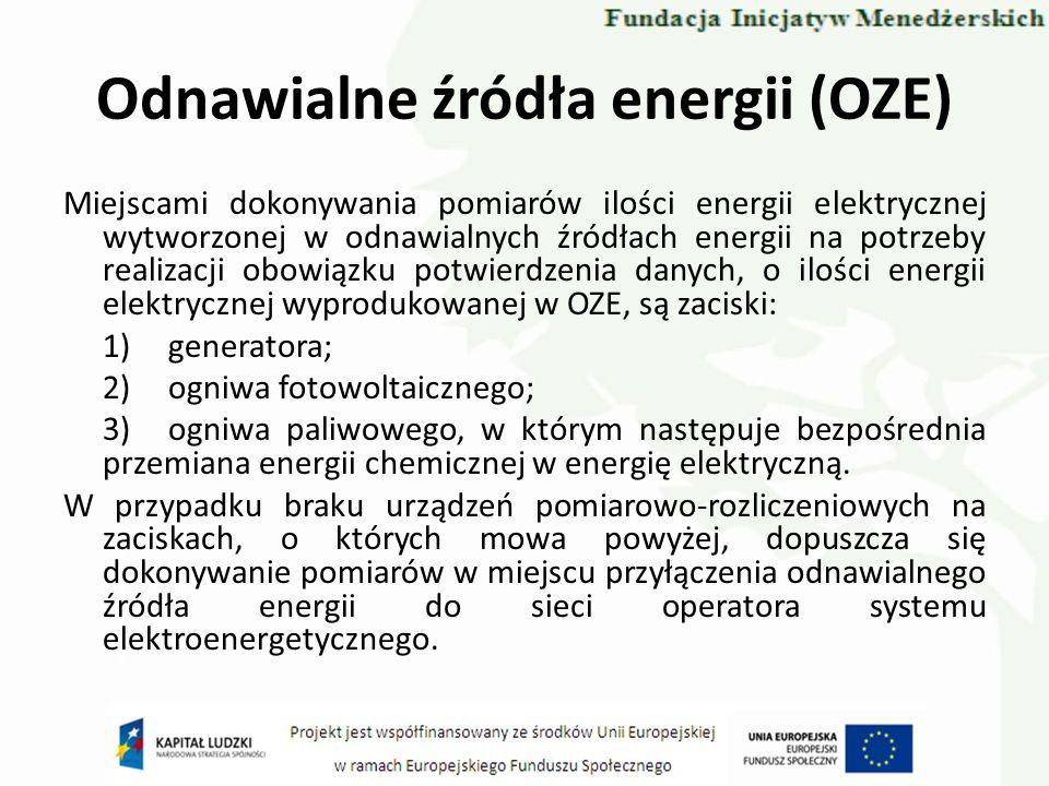 Odnawialne źródła energii (OZE) Miejscami dokonywania pomiarów ilości energii elektrycznej wytworzonej w odnawialnych źródłach energii na potrzeby rea
