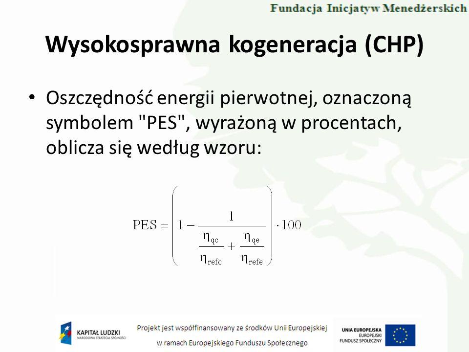 Wysokosprawna kogeneracja (CHP) Oszczędność energii pierwotnej, oznaczoną symbolem