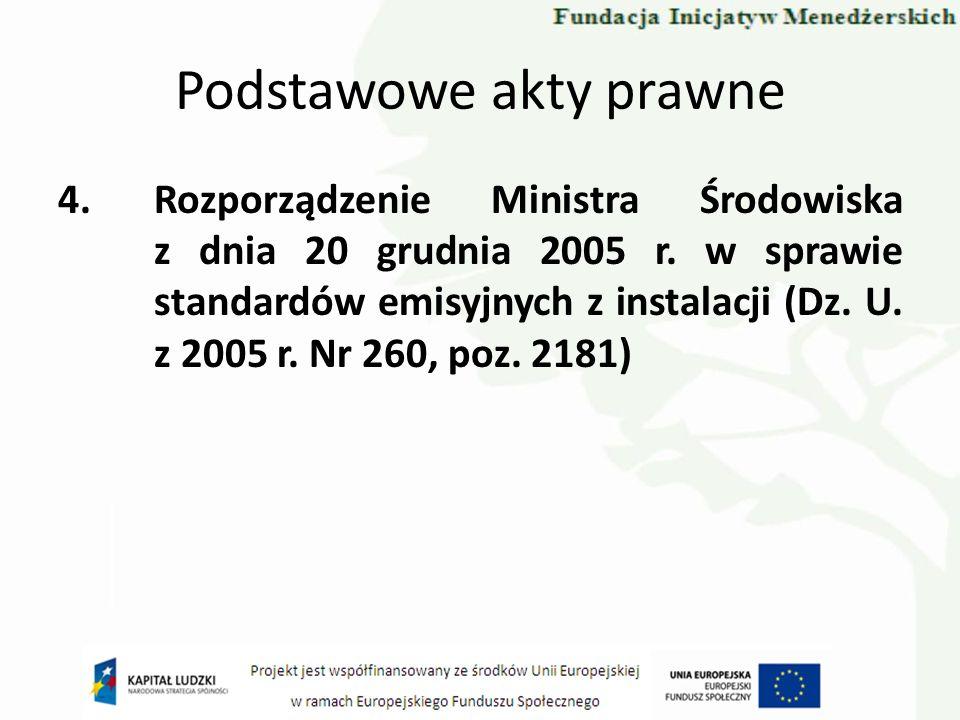 Podstawowe akty prawne 4.Rozporządzenie Ministra Środowiska z dnia 20 grudnia 2005 r. w sprawie standardów emisyjnych z instalacji (Dz. U. z 2005 r. N