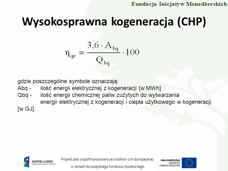 Wysokosprawna kogeneracja (CHP) gdzie poszczególne symbole oznaczają: Abq -ilość energii elektrycznej z kogeneracji [w MWh] Qbq -ilość energii chemicz