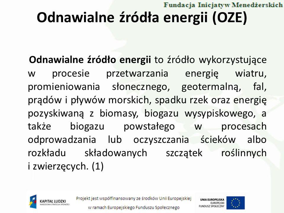 Odnawialne źródła energii (OZE) 1)biomasa - stałe lub ciekłe substancje pochodzenia roślinnego lub zwierzęcego, które ulegają biodegradacji, pochodzące z produktów, odpadów i pozostałości z produkcji rolnej oraz leśnej, a także przemysłu przetwarzającego ich produkty, a także części pozostałych odpadów, które ulegają biodegradacji; 2)uprawy energetyczne - plantacje zakładane w celu wykorzystania pochodzącej z nich biomasy w procesie wytwarzania energii; 3)biogaz - gaz pozyskany z biomasy, w szczególności z instalacji przeróbki odpadów zwierzęcych lub roślinnych, oczyszczalni ścieków oraz składowisk odpadów; 4)mieszane paliwo wtórne - paliwo będące mieszanką biomasy lub biogazu oraz innych paliw, przygotowane poza jednostką wytwórczą zużywającą to paliwo.