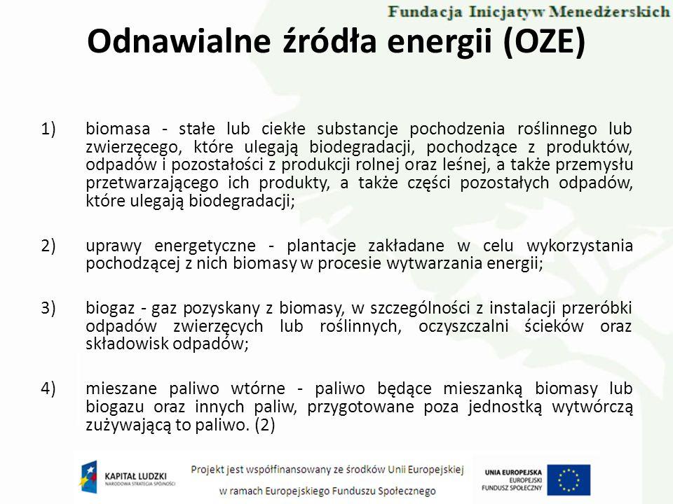 Odnawialne źródła energii (OZE) Paliwem jest również biomasa rozumiana jako: 1)produkty składające się w całości lub w części z substancji roślinnych pochodzących z rolnictwa lub leśnictwa spalane w celu odzyskania zawartej w nich energii;