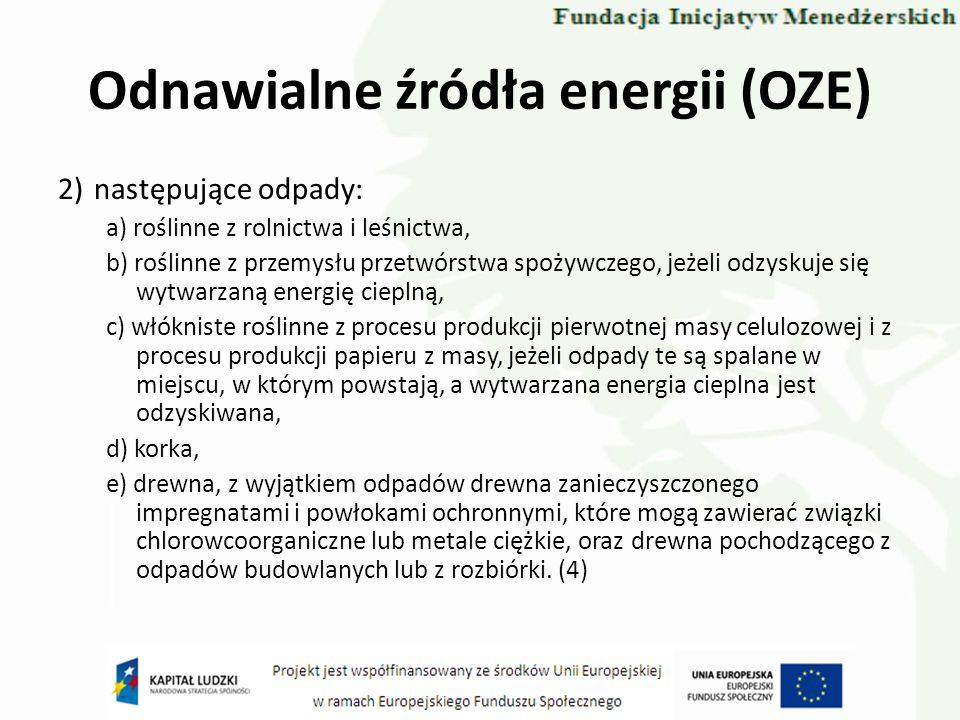 Odnawialne źródła energii (OZE) 2)następujące odpady: a) roślinne z rolnictwa i leśnictwa, b) roślinne z przemysłu przetwórstwa spożywczego, jeżeli od