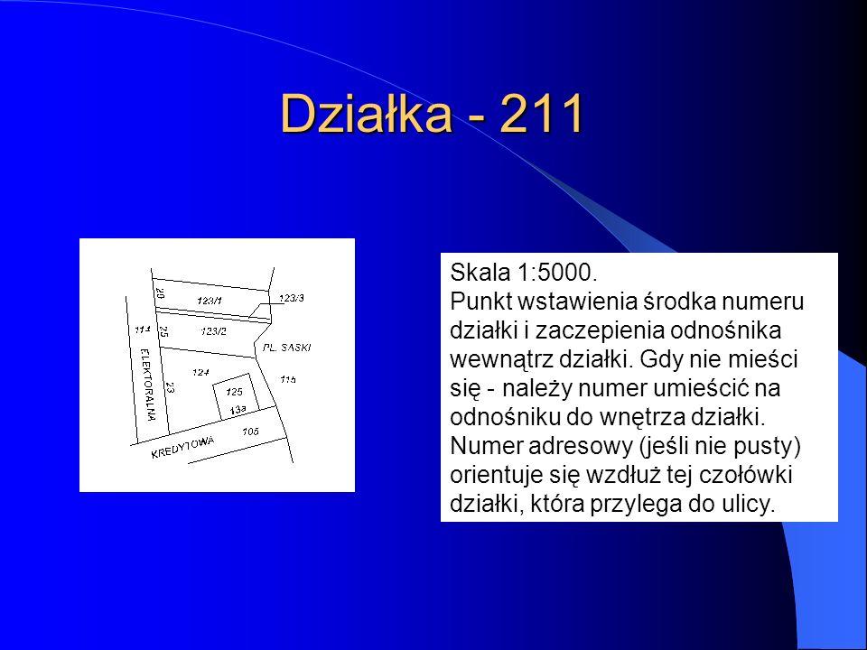 Działka - 211 Skala 1:5000. Punkt wstawienia środka numeru działki i zaczepienia odnośnika wewnątrz działki. Gdy nie mieści się - należy numer umieści