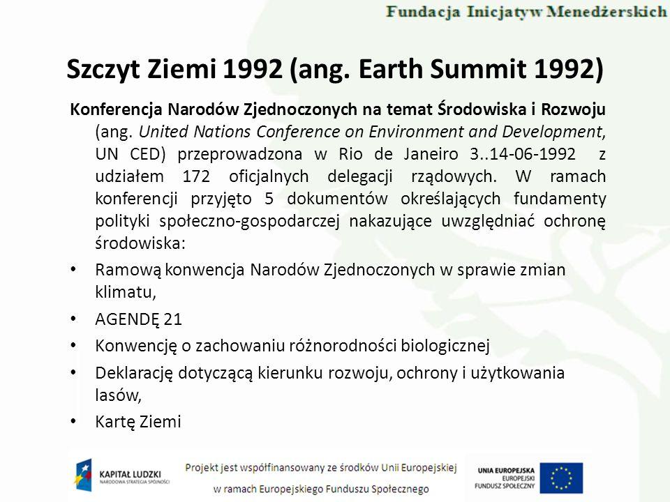 Szczyt Ziemi 1992 (ang. Earth Summit 1992) Konferencja Narodów Zjednoczonych na temat Środowiska i Rozwoju (ang. United Nations Conference on Environm