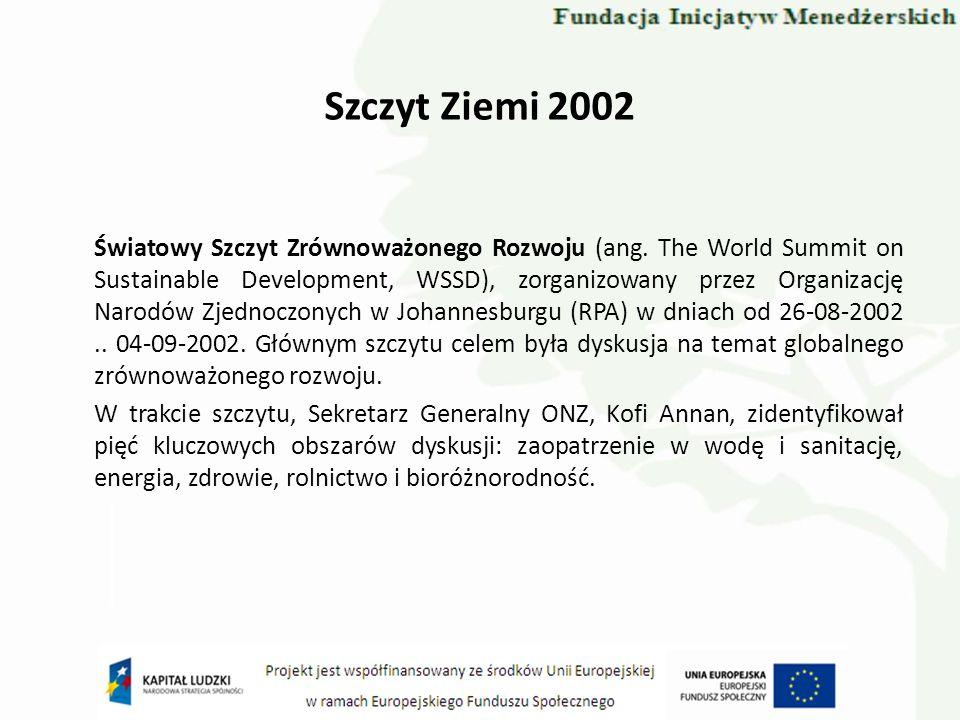Szczyt Ziemi 2002 Światowy Szczyt Zrównoważonego Rozwoju (ang. The World Summit on Sustainable Development, WSSD), zorganizowany przez Organizację Nar