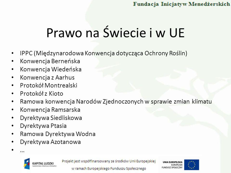 Prawo na Świecie i w UE IPPC (Międzynarodowa Konwencja dotycząca Ochrony Roślin) Konwencja Berneńska Konwencja Wiedeńska Konwencja z Aarhus Protokół M