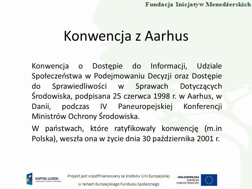 Konwencja z Aarhus Konwencja o Dostępie do Informacji, Udziale Społeczeństwa w Podejmowaniu Decyzji oraz Dostępie do Sprawiedliwości w Sprawach Dotycz