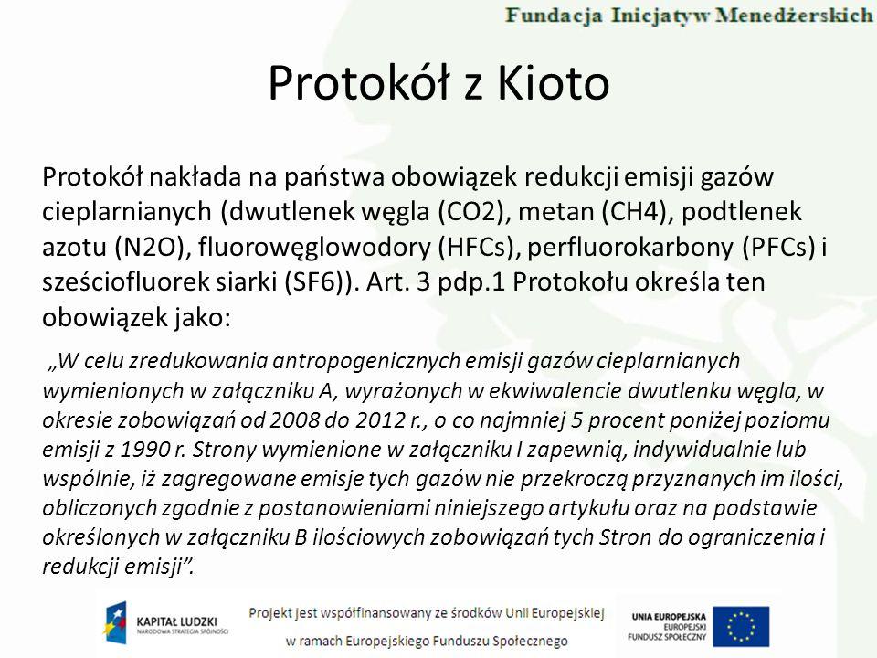 Protokół z Kioto Protokół nakłada na państwa obowiązek redukcji emisji gazów cieplarnianych (dwutlenek węgla (CO2), metan (CH4), podtlenek azotu (N2O)