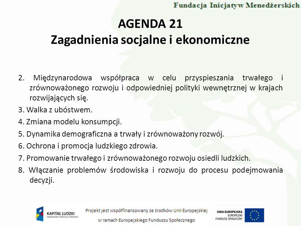AGENDA 21 Zagadnienia socjalne i ekonomiczne 2. Międzynarodowa współpraca w celu przyspieszania trwałego i zrównoważonego rozwoju i odpowiedniej polit