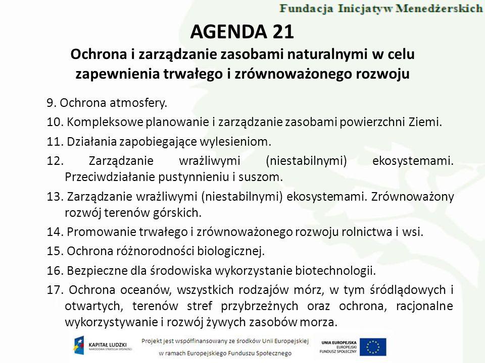 AGENDA 21 Ochrona i zarządzanie zasobami naturalnymi w celu zapewnienia trwałego i zrównoważonego rozwoju 9. Ochrona atmosfery. 10. Kompleksowe planow