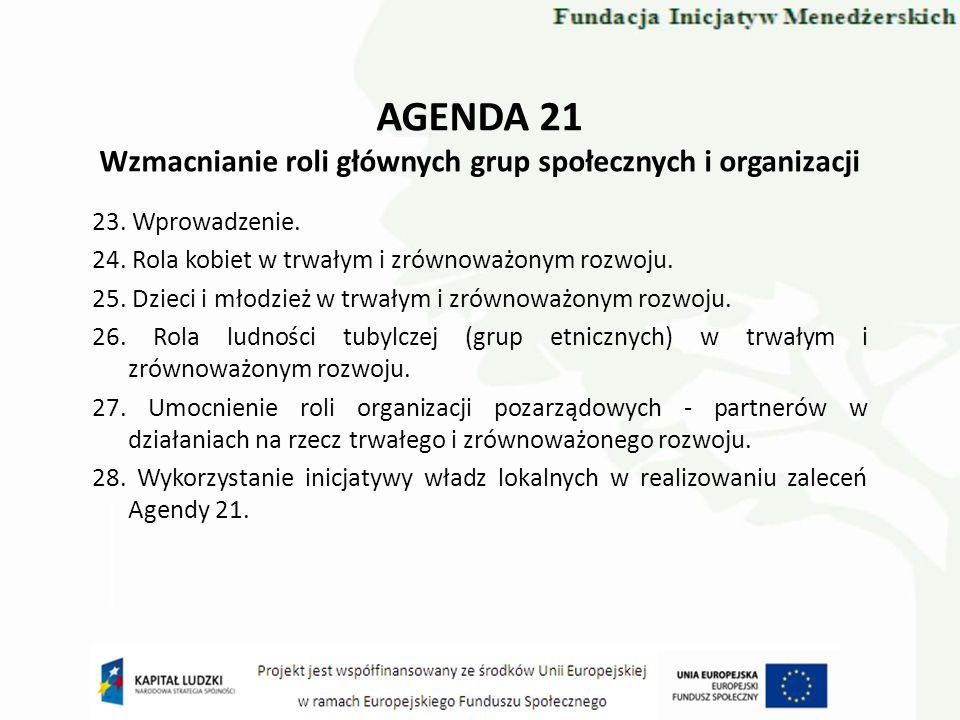 AGENDA 21 Wzmacnianie roli głównych grup społecznych i organizacji 23. Wprowadzenie. 24. Rola kobiet w trwałym i zrównoważonym rozwoju. 25. Dzieci i m