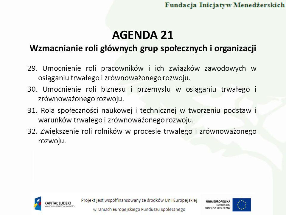 AGENDA 21 Wzmacnianie roli głównych grup społecznych i organizacji 29. Umocnienie roli pracowników i ich związków zawodowych w osiąganiu trwałego i zr