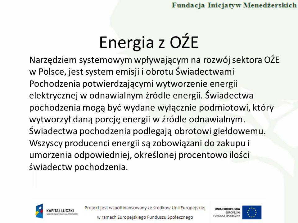 Energia z OŹE Narzędziem systemowym wpływającym na rozwój sektora OŹE w Polsce, jest system emisji i obrotu Świadectwami Pochodzenia potwierdzającymi