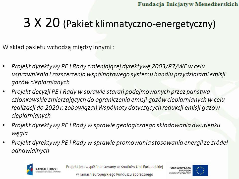 3 X 20 (Pakiet klimnatyczno-energetyczny) W skład pakietu wchodzą między innymi : Projekt dyrektywy PE i Rady zmieniającej dyrektywę 2003/87/WE w celu