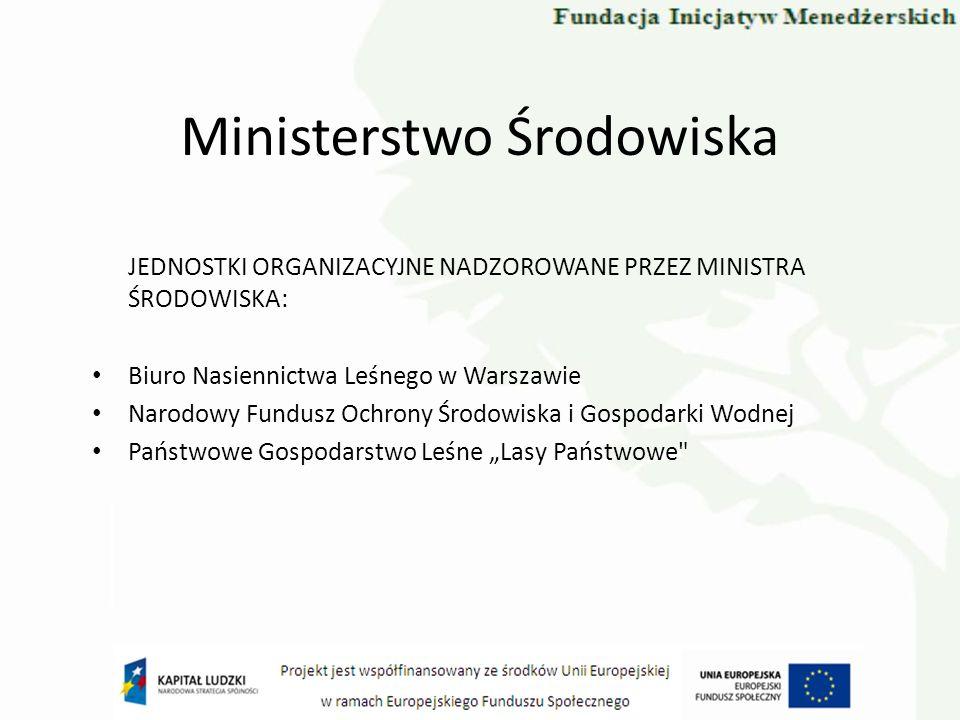 Ministerstwo Środowiska JEDNOSTKI ORGANIZACYJNE NADZOROWANE PRZEZ MINISTRA ŚRODOWISKA: Biuro Nasiennictwa Leśnego w Warszawie Narodowy Fundusz Ochrony