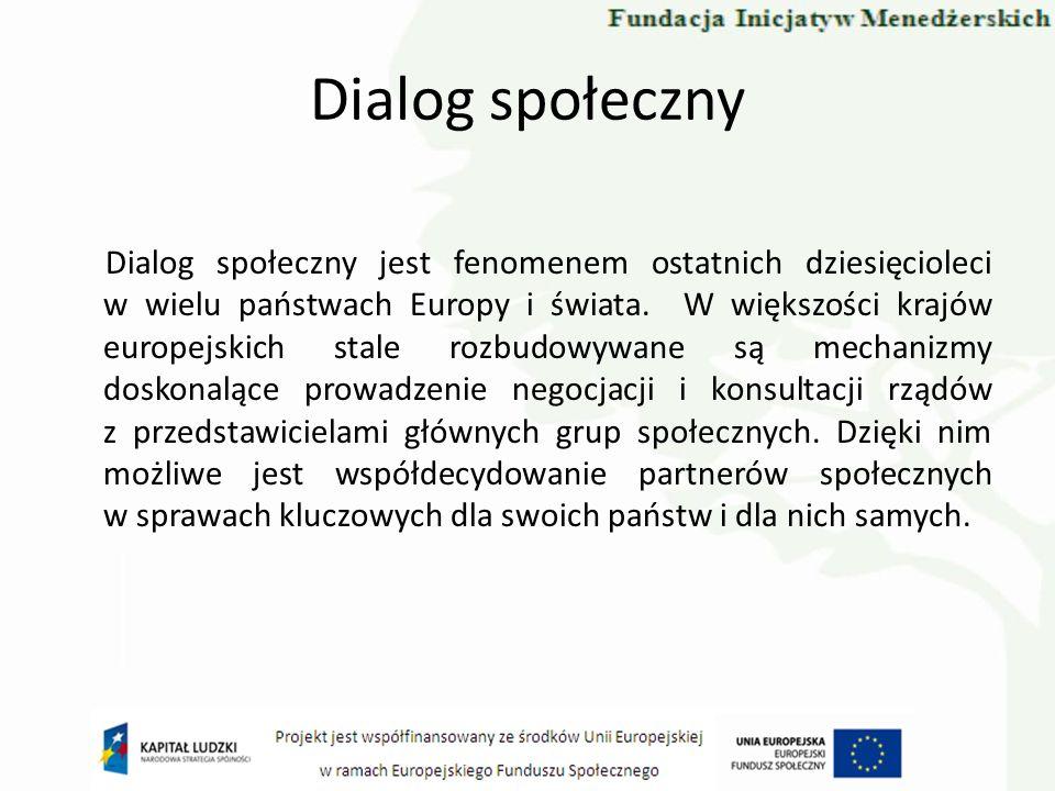 Dialog społeczny Dialog społeczny jest fenomenem ostatnich dziesięcioleci w wielu państwach Europy i świata. W większości krajów europejskich stale ro
