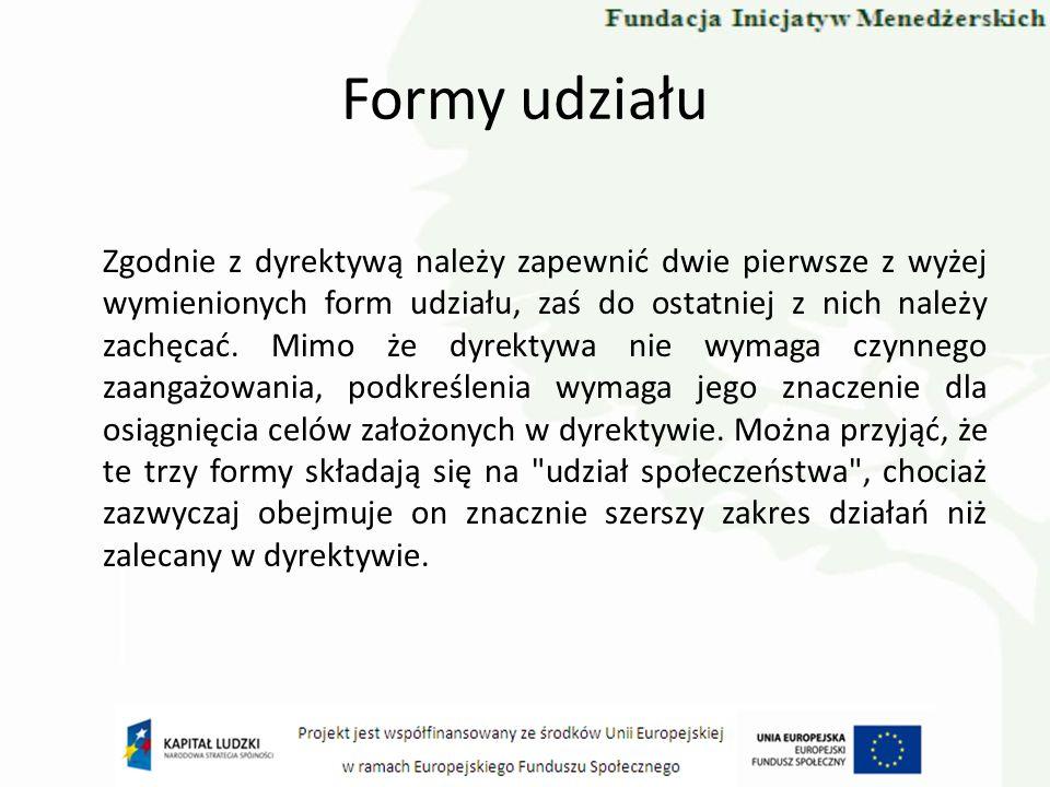 Formy udziału Zgodnie z dyrektywą należy zapewnić dwie pierwsze z wyżej wymienionych form udziału, zaś do ostatniej z nich należy zachęcać. Mimo że dy