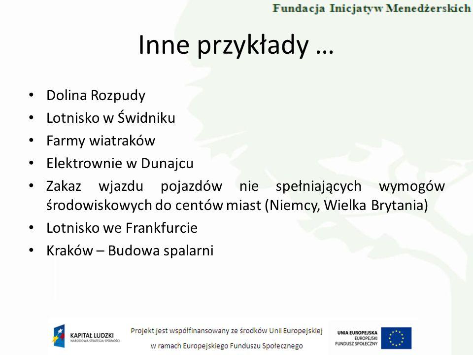 Inne przykłady … Dolina Rozpudy Lotnisko w Świdniku Farmy wiatraków Elektrownie w Dunajcu Zakaz wjazdu pojazdów nie spełniających wymogów środowiskowy