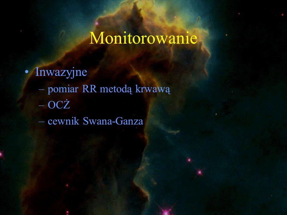 Monitorowanie Inwazyjne –pomiar RR metodą krwawą –OCŻ –cewnik Swana-Ganza