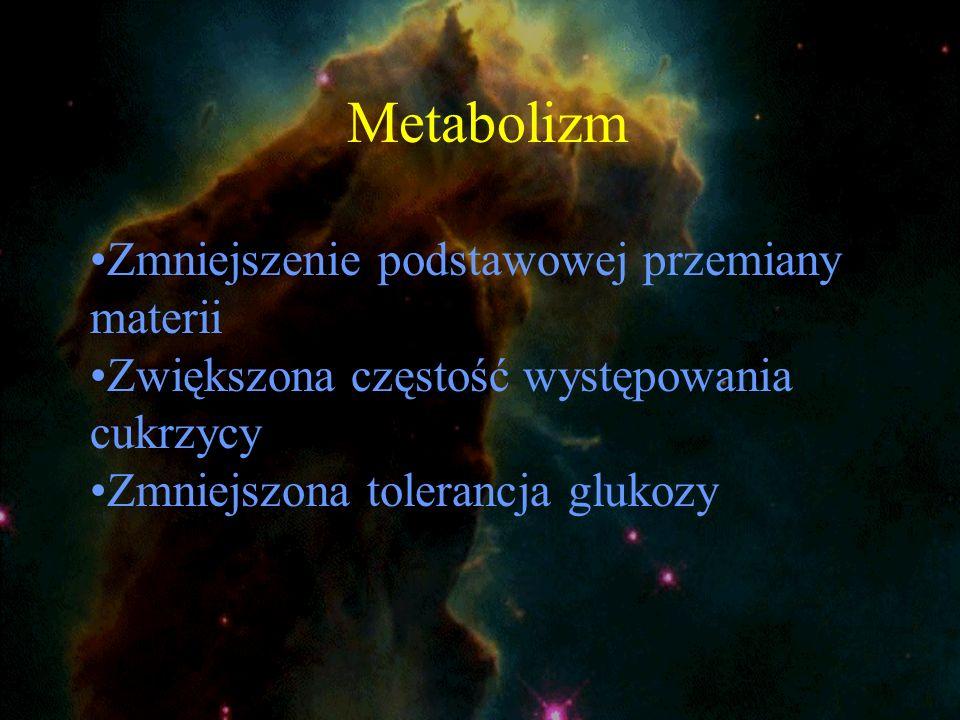 Metabolizm Zmniejszenie podstawowej przemiany materii Zwiększona częstość występowania cukrzycy Zmniejszona tolerancja glukozy