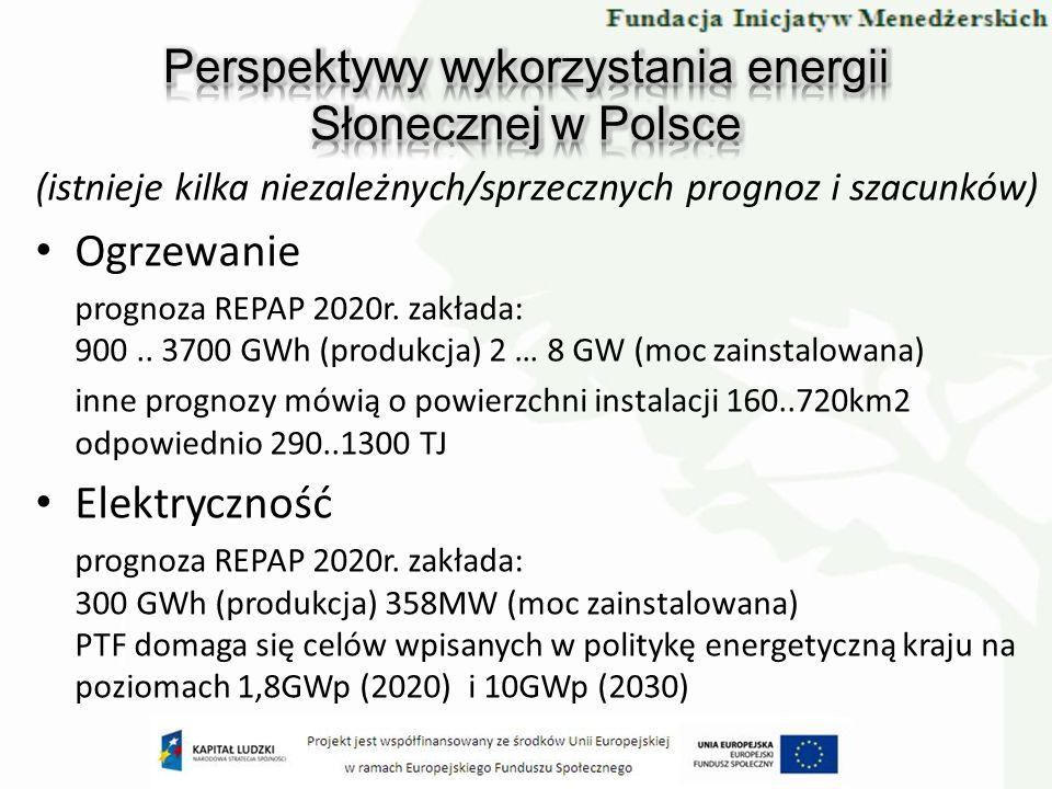 (istnieje kilka niezależnych/sprzecznych prognoz i szacunków) Ogrzewanie prognoza REPAP 2020r. zakłada: 900.. 3700 GWh (produkcja) 2 … 8 GW (moc zains