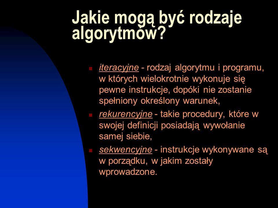 Jakie mogą być rodzaje algorytmów? iteracyjne - rodzaj algorytmu i programu, w których wielokrotnie wykonuje się pewne instrukcje, dopóki nie zostanie