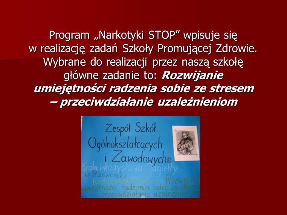 Program Narkotyki STOP wpisuje się w realizację zadań Szkoły Promującej Zdrowie. Wybrane do realizacji przez naszą szkołę główne zadanie to: Rozwijani