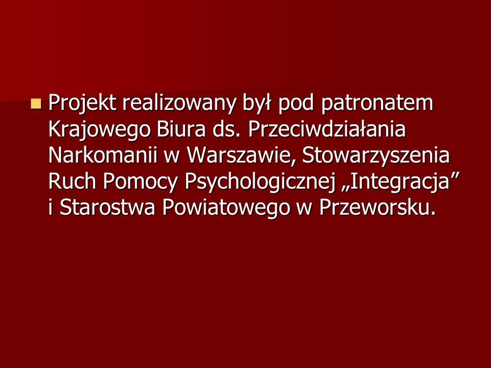 Projekt realizowany był pod patronatem Krajowego Biura ds. Przeciwdziałania Narkomanii w Warszawie, Stowarzyszenia Ruch Pomocy Psychologicznej Integra