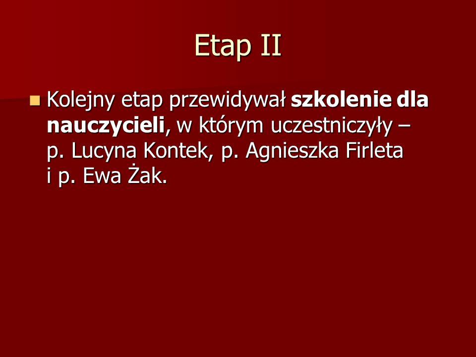 Etap II Kolejny etap przewidywał szkolenie dla nauczycieli, w którym uczestniczyły – p. Lucyna Kontek, p. Agnieszka Firleta i p. Ewa Żak. Kolejny etap