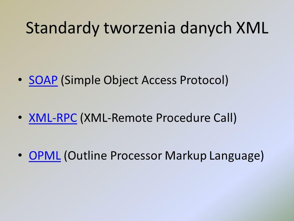 Standardy tworzenia danych XML SOAP (Simple Object Access Protocol) SOAP XML-RPC (XML-Remote Procedure Call) XML-RPC OPML (Outline Processor Markup La