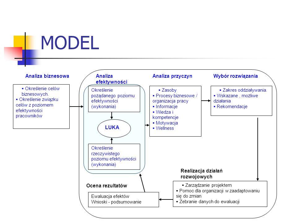 MODEL Analiza biznesowa Określenie celów biznesowych. Określenie związku celów z poziomem efektywności pracowników Analiza efektywności Określenie poż
