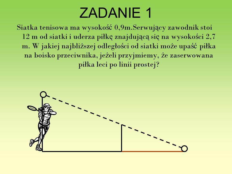 ZADANIE 1 Siatka tenisowa ma wysoko ść 0,9m.Serwuj ą cy zawodnik stoi 12 m od siatki i uderza piłk ę znajduj ą c ą si ę na wysoko ś ci 2,7 m. W jakiej
