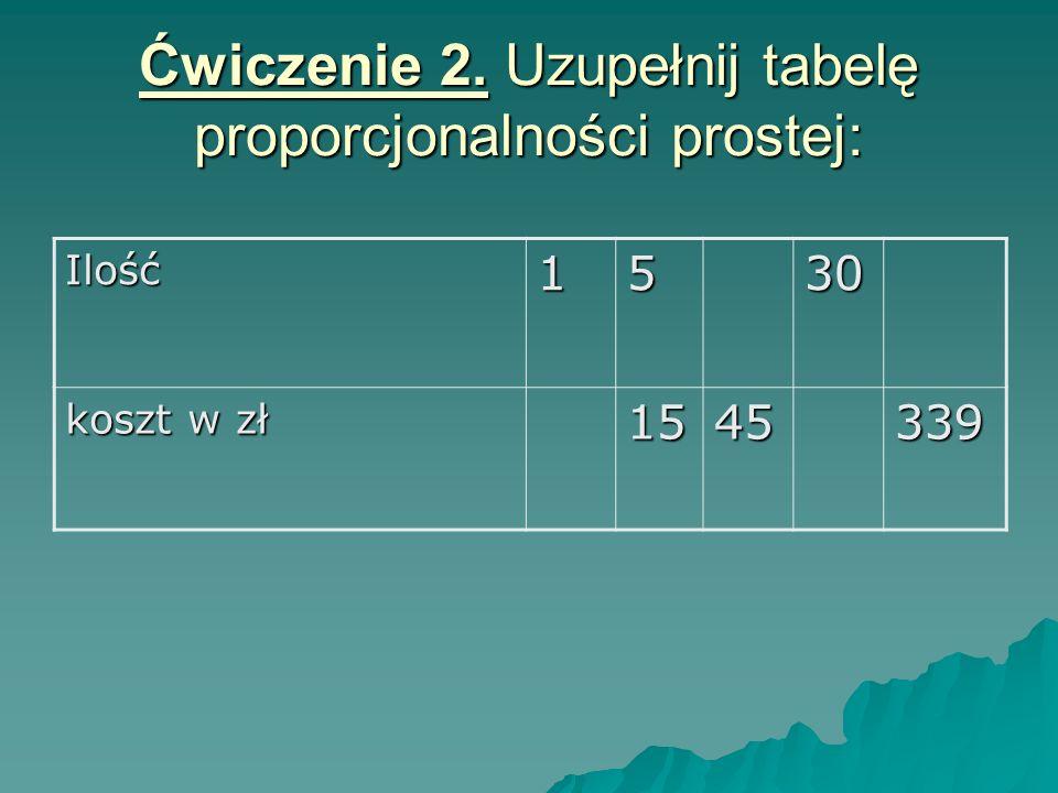 Ćwiczenie 2. Uzupełnij tabelę proporcjonalności prostej: Ilość1530 koszt w zł 1545339